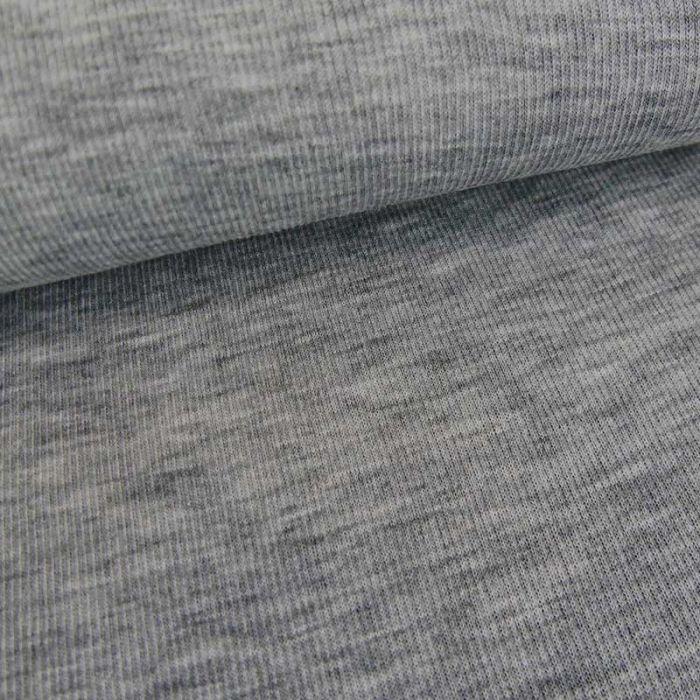 Tissu jersey laine côtelé stretch haute couture - gris x 10 cm