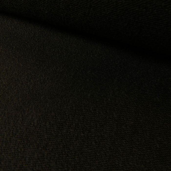 Tissu crêpe polycoton stretch haute couture - noir x 10 cm