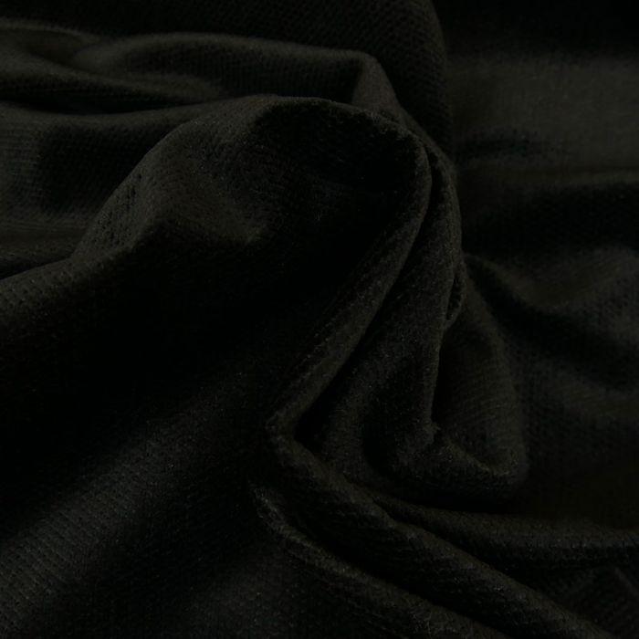 Tissu velours texturé croisillons haute couture - noir x 10 cm