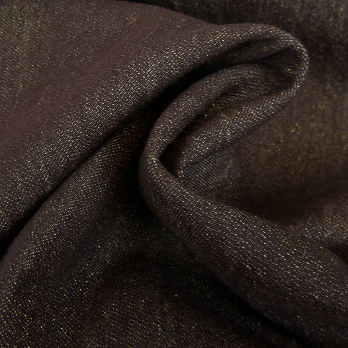Tissu jean denim lurex doré haute couture - aubergine x 10 cm