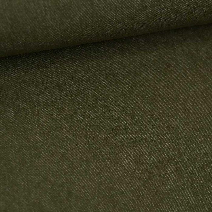 Tissu jean denim - kaki x 10 cm