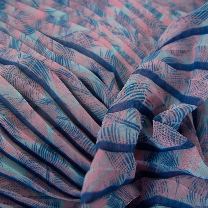 Tissu crêpe plissé feuilles palmier - bleu x 10 cm