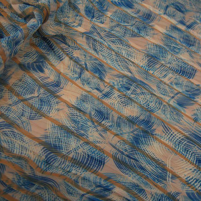 Tissu crêpe plissé feuilles palmier - beige x 10 cm