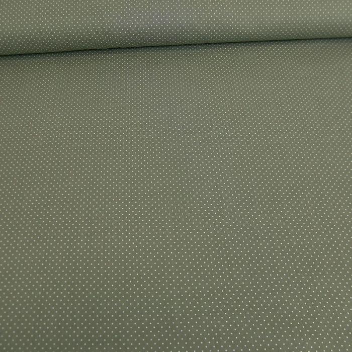 Tissu voile de coton à pois - vert de gris x 10 cm