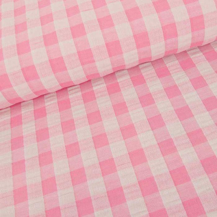 Tissu seersucker vichy grands carreaux - rose clair x 10 cm
