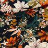 Tissu jersey fin fleurs d'automne - noir x 10 cm