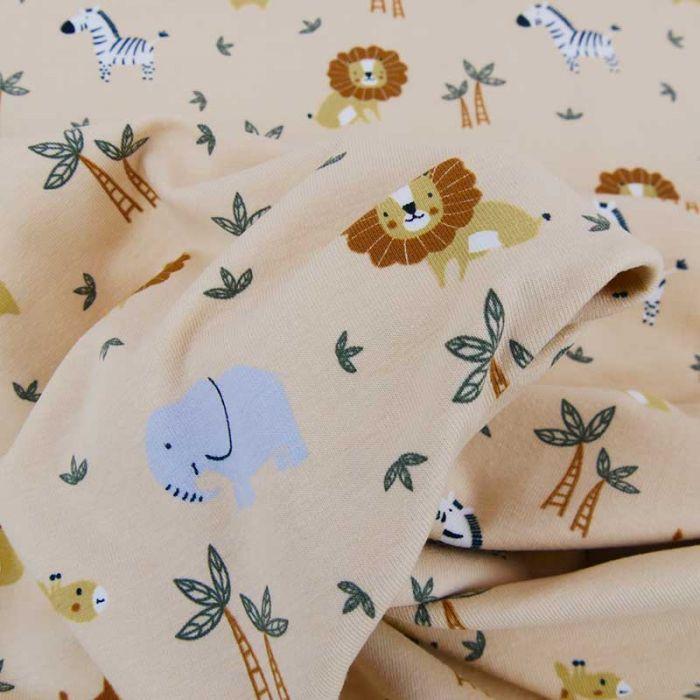 Tissu jersey fin animaux sauvages - beige x 10 cm