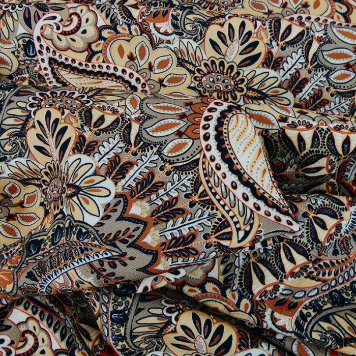 Tissu viscose motif cachemire - beige x 10 cm