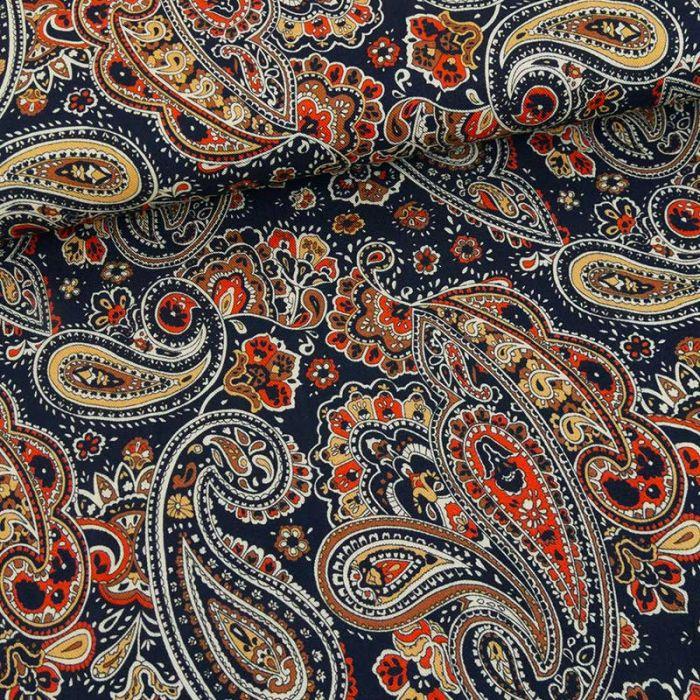 Tissu viscose motif cachemire - bleu marine x 10 cm