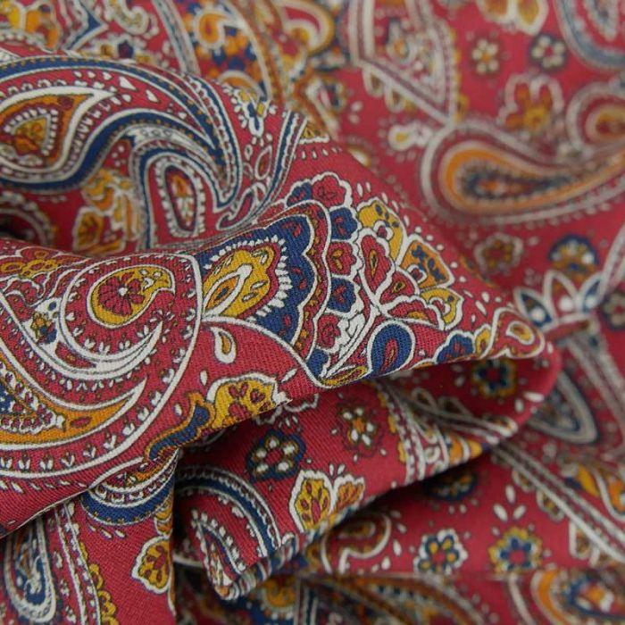 Tissu viscose motif cachemire - bordeaux x 10 cm
