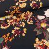 Tissu viscose composition florale - bleu marine x 10 cm