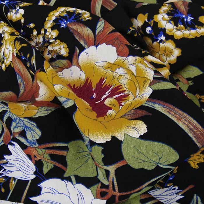 Tissu viscose composition florale - noir x 10 cm