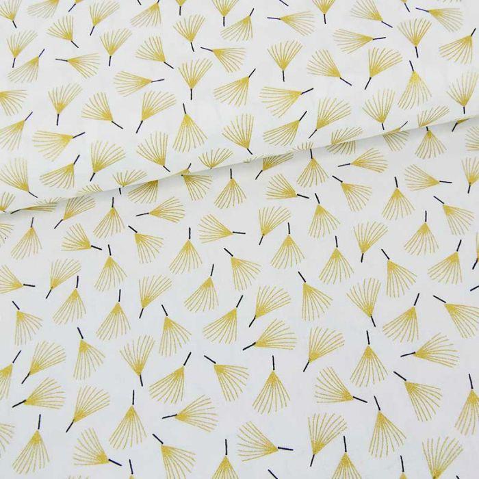 Tissu popeline de coton éventails dorés - blanc cassé x 10 cm