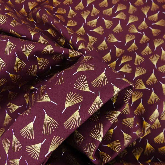 Tissu popeline de coton éventails dorés - bordeaux x 10 cm