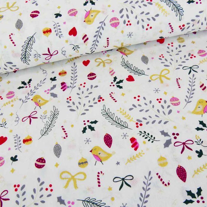Tissu popeline de coton imprimés noël - blanc cassé x 10 cm