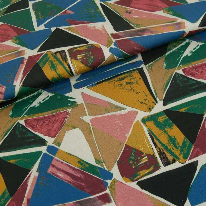 Tissu viscose triangles haute couture - multicolore x 10 cm