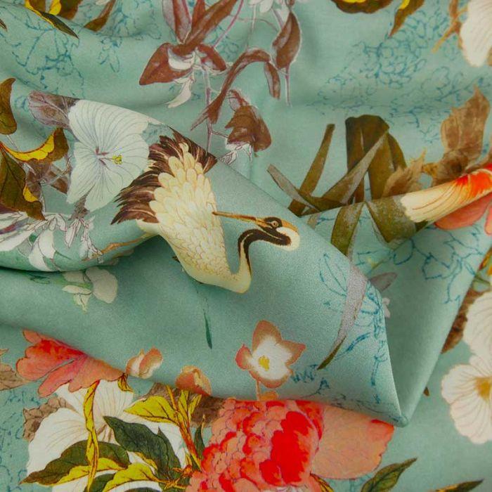 Tissu viscose fleurs du japon haute couture - bleu gris x 10 cm