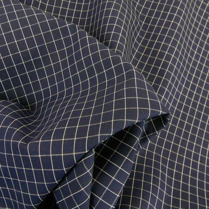 Tissu popeline coton carreaux haute couture - bleu marine x 10 cm