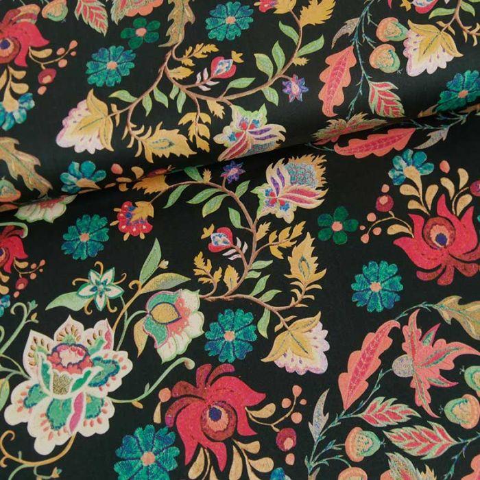 Tissu coton stretch fleurs indiennes haute-couture - noir x 10 cm