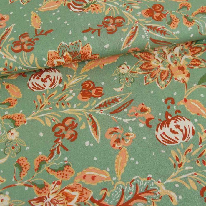 Tissu coton stretch fleurs indiennes haute-couture - vert de gris x 10 cm