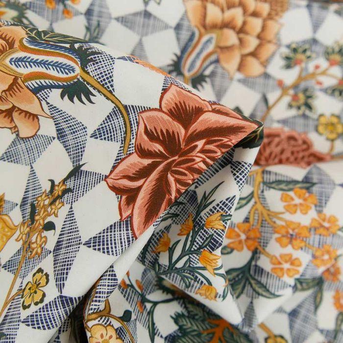 Tissu coton stretch fleurs indiennes haute-couture - blanc x 10 cm