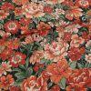 Tissu tencel fleurs vintage haute couture - orange x 10 cm