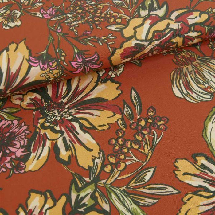 Tissu tencel fleurs automnales haute couture - terracotta x 10 cm