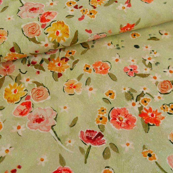 Tissu soie jardin fleuri haute couture - vert pâle x 10 cm