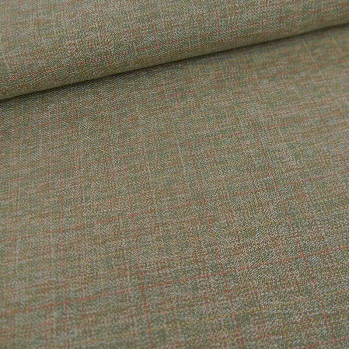 Tissu toile de coton carreaux haute couture - vert kaki x 10 cm