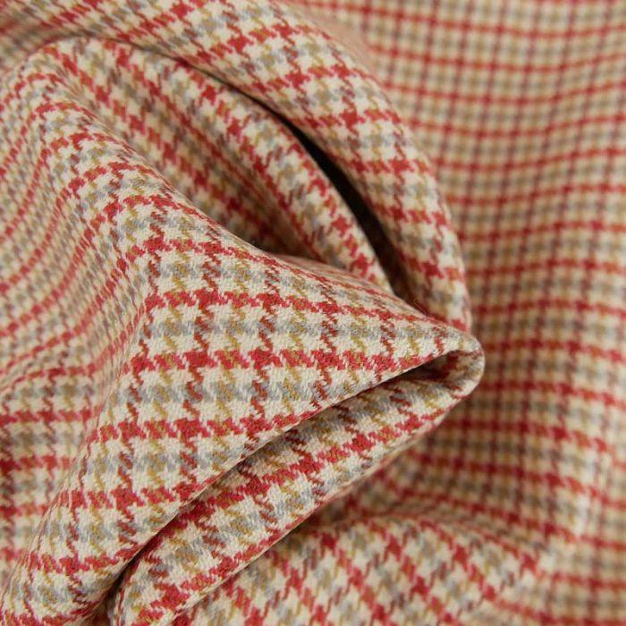 Tissu laine tweed quadrillé haute couture - beige x 10 cm