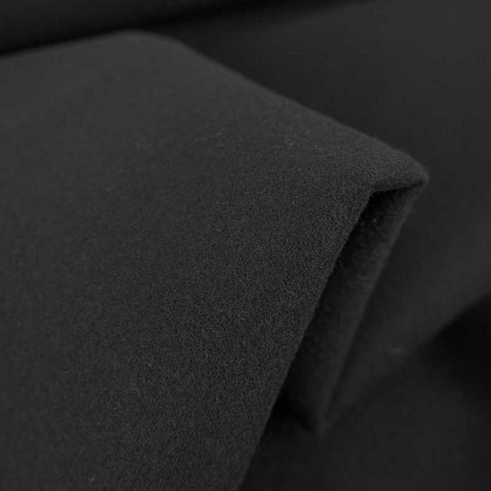 Tissu drap de laine haute couture - noir x 10 cm