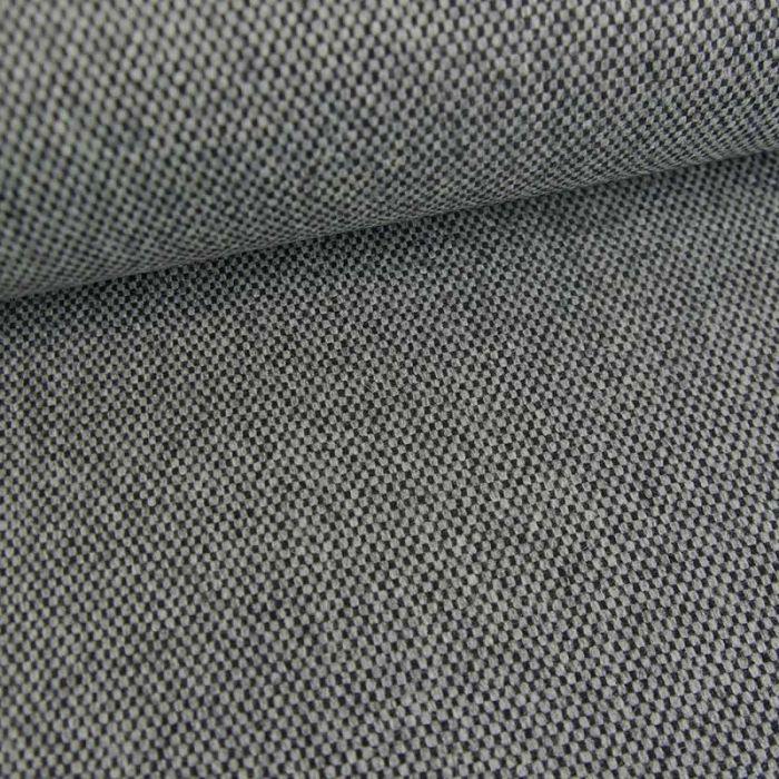 Tissu lainage tweed damiers haute couture - gris chiné x 10 cm