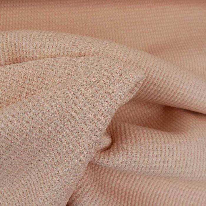 Tissu maille côtelé double face - rose clair x 10cm