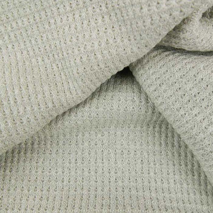 Tissu maille côtelé double face - gris clair x 10cm