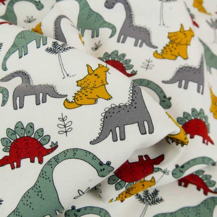Tissu jersey bio sweat léger dinosaures - blanc x 10 cm