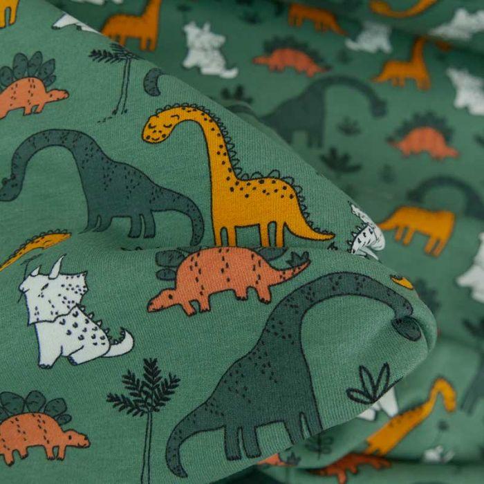 Tissu jersey bio sweat léger dinosaures - vert x 10 cm