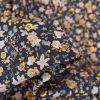 Tissu popeline coton fleurs aquarellées - gris ardoise x 10cm