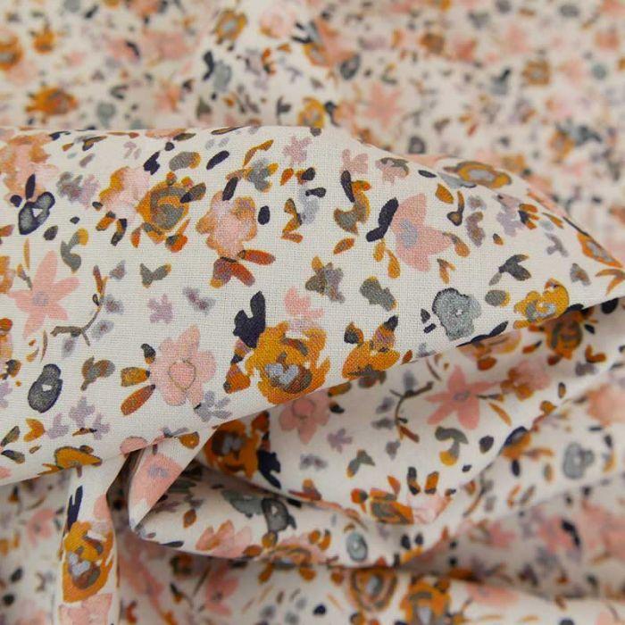 Tissu popeline coton fleurs aquarellées roses - blanc x 10cm
