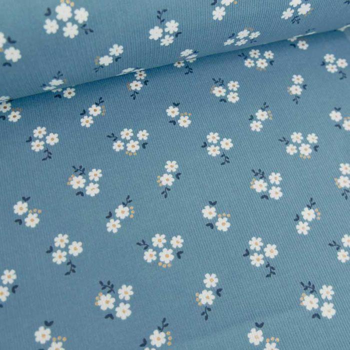 Tissu velours milleraies fleurs blanches - bleu x 10 cm