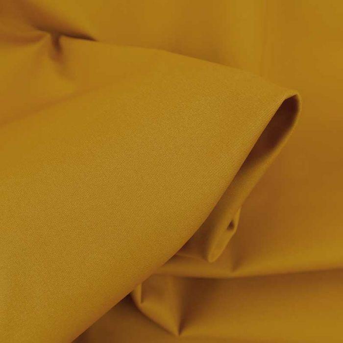 Tissu coton chino stretch - jaune moutarde x 10cm