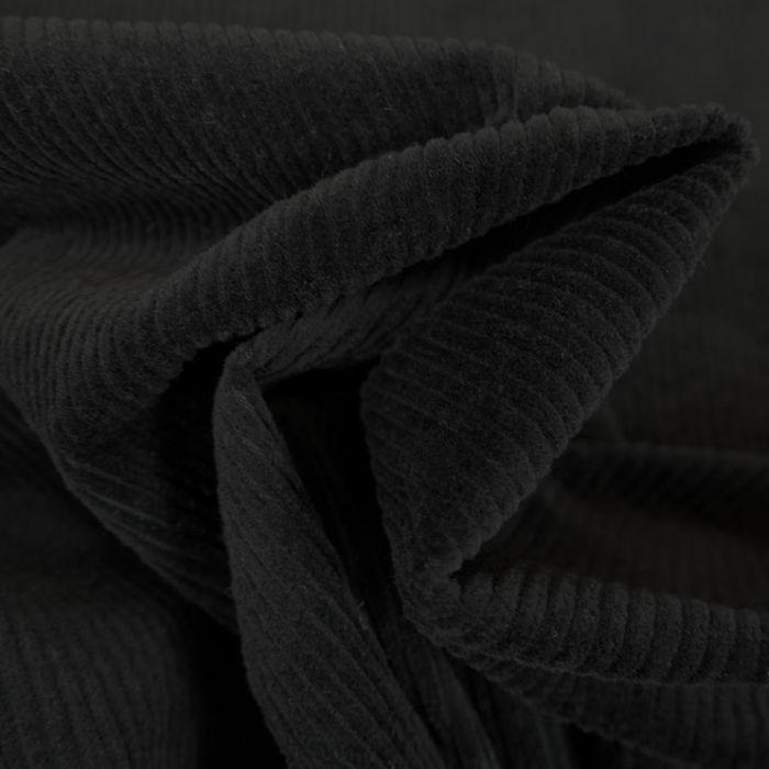 Tissu velours côtelé stretch uni - noir x 10 cm