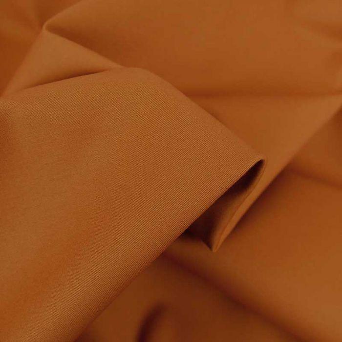 Tissu coton chino stretch - orange brun x 10cm