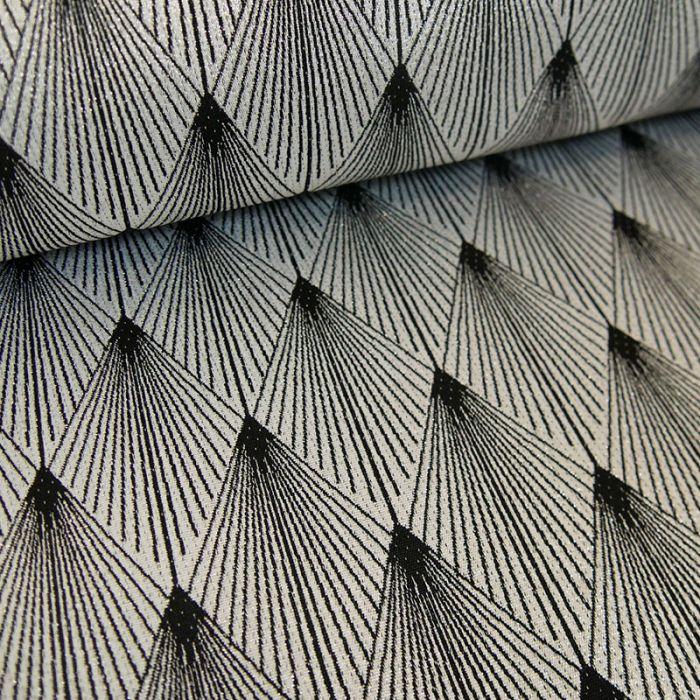 Tissu jacquard lurex comètes - argent x 10 cm