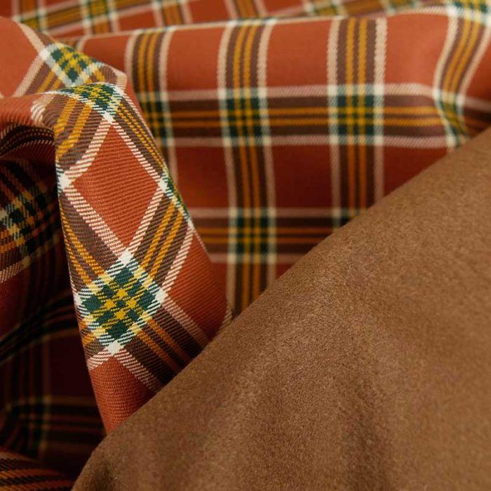 Tissu laine cachemire tartan - marron orangé