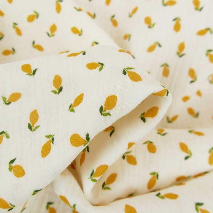 Tissu double gaze de coton bio citrons - écru x 10cm