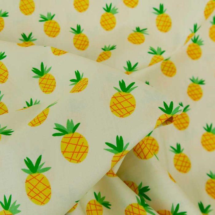 Tissu popeline coton ananas - jaune x 10 cm
