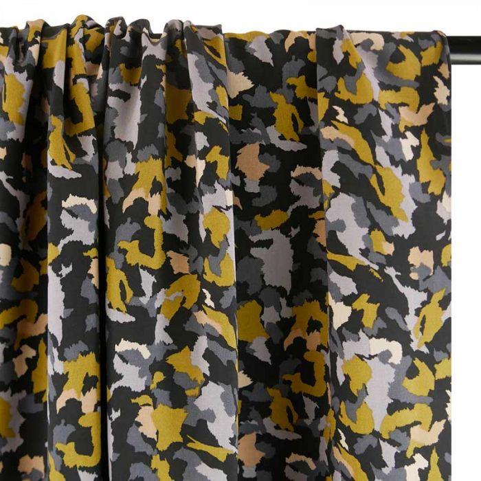 Tissu viscose camouflage abstrait - noir x 10 cm