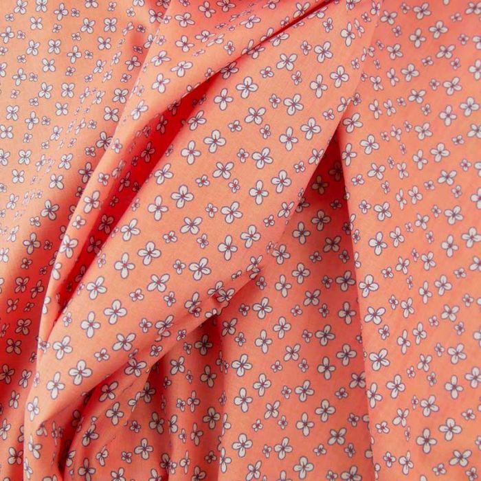 Tissu popeline coton fleurs cardamines - rose saumon x 10 cm