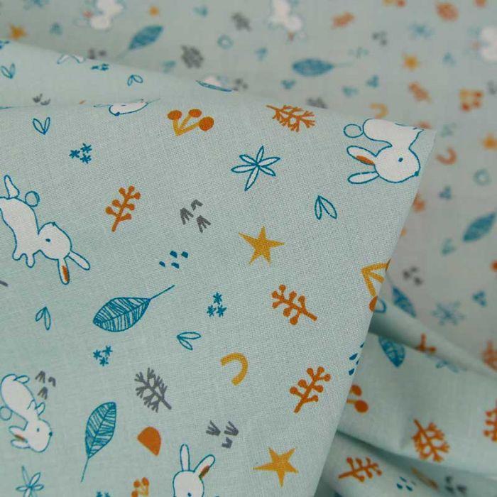 Tissu popeline coton petits lapins - bleu de gris x 10 cm
