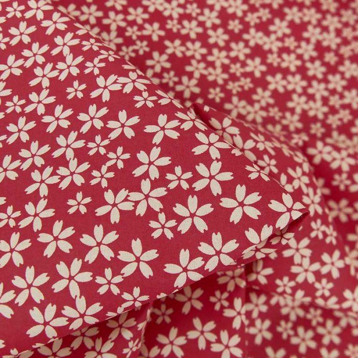 Tissu popeline coton fleurs sakura - rouge x 10 cm